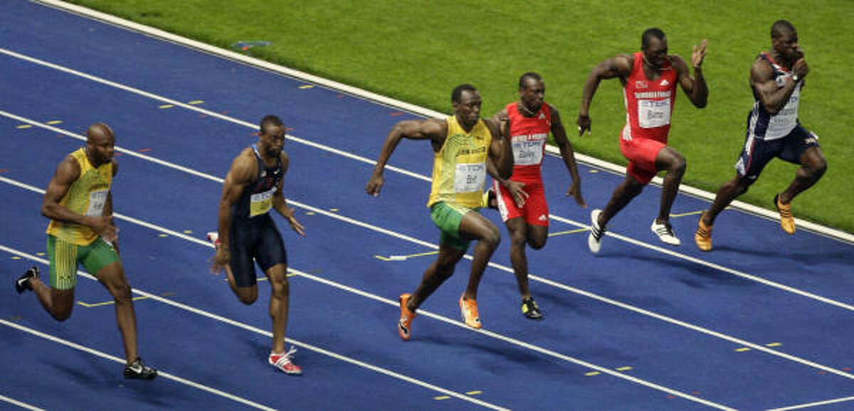 From left,Trinidad and Tobago's Richard Thompson, U.S.'s Darvis Patton, Jamaica's Asafa Powell, U.S.'s Tyson Gay, Jamaica's Usain Bolt, Antigua and Barbuda's Daniel Bailey, Trinidad and Tobago's Marc Burns and Great Britain's Dwain Chambers compete in the men's 100m final race of the 2009 IAAF Athletics World Championships.