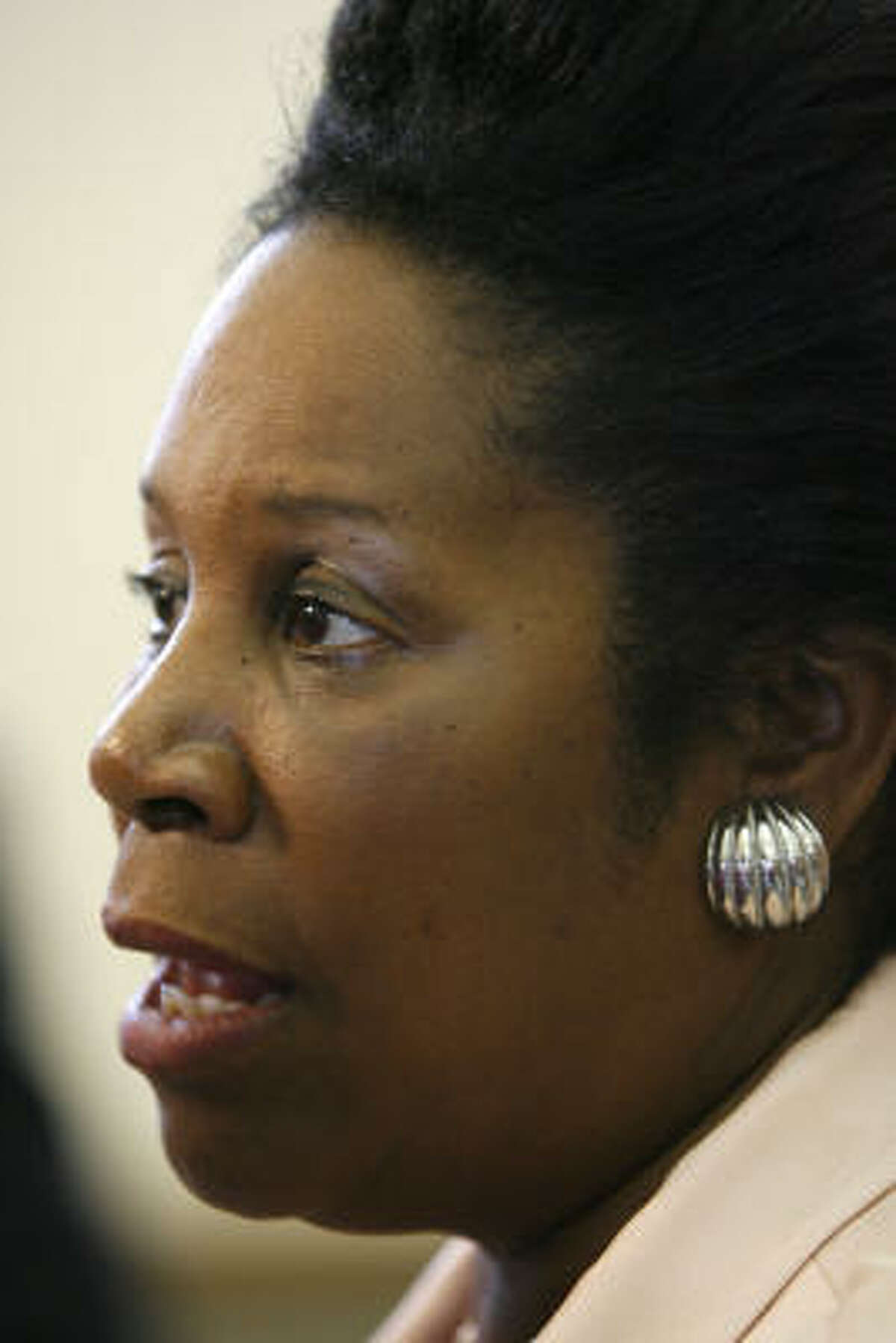 Sheila Jackson Lee fields questions on health care.