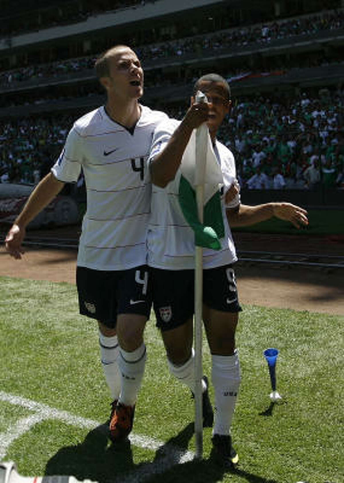 Charles Davies, right, and Michael Bradley of the U.S. celebrate after Davies scored against Mexico.