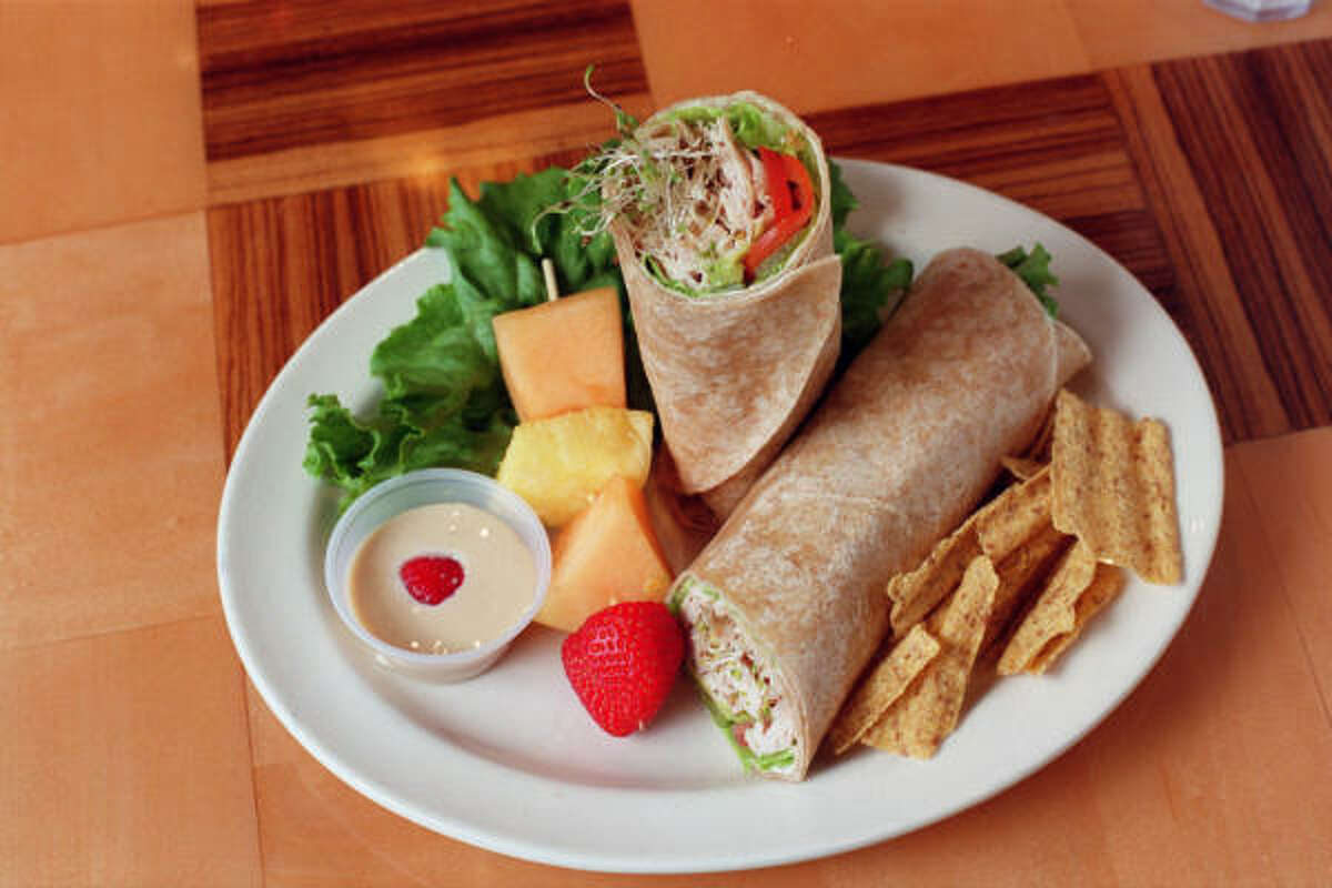 Hummus and turkey make for a great whole-wheat wrap. For a turkey burrito wrap recipe click here.