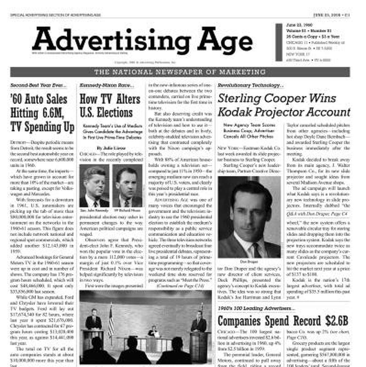 Mad Men, a television series about an advertising agency in the 1960s, is inspiring commercials, designer fashions, merchandise such as cigarette lighters and calendars, and a mock issue of the trade publication Advertising Age.