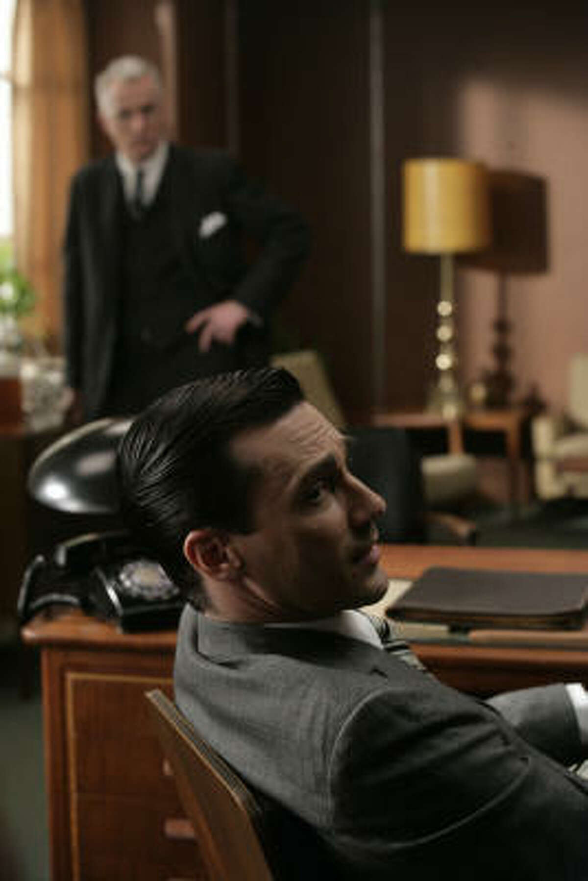 Don Draper (Jon Hamm) is an ad exec. And a man's man. He drinks, smokes and slays the ladies. He's also growing more and more conflicted.