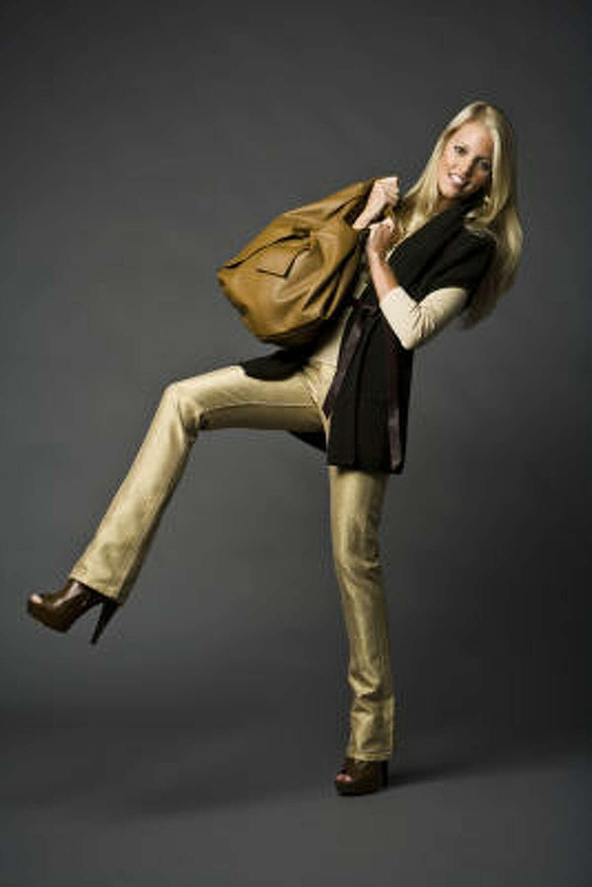 Valentino's new 360 large bag in brown. Sergio Rossi heels, $995, Ralph Lauren gold jeans, $555, tan top, $155, and Vince sweater vest in dark olive, $295, Neiman Marcus. Ralph Lauren necklace, $98, an earrings, $44, Nordstrom.