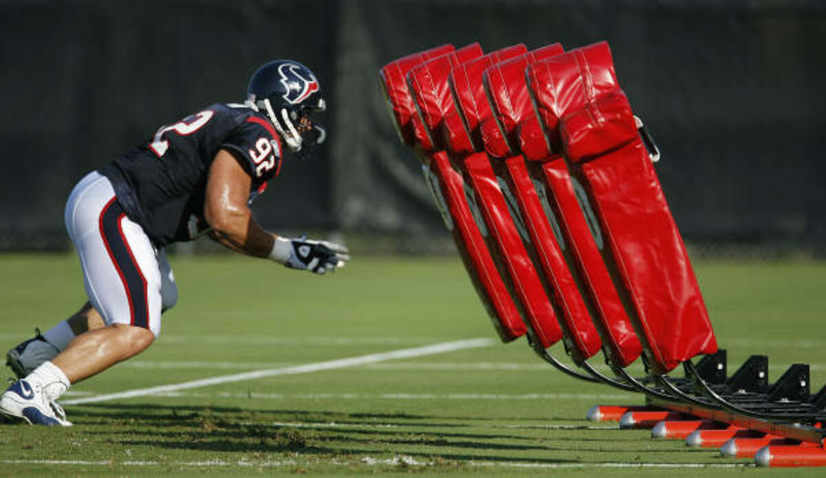 Defensive tackle Tim Jamison gets an early taste of a training camp staple.