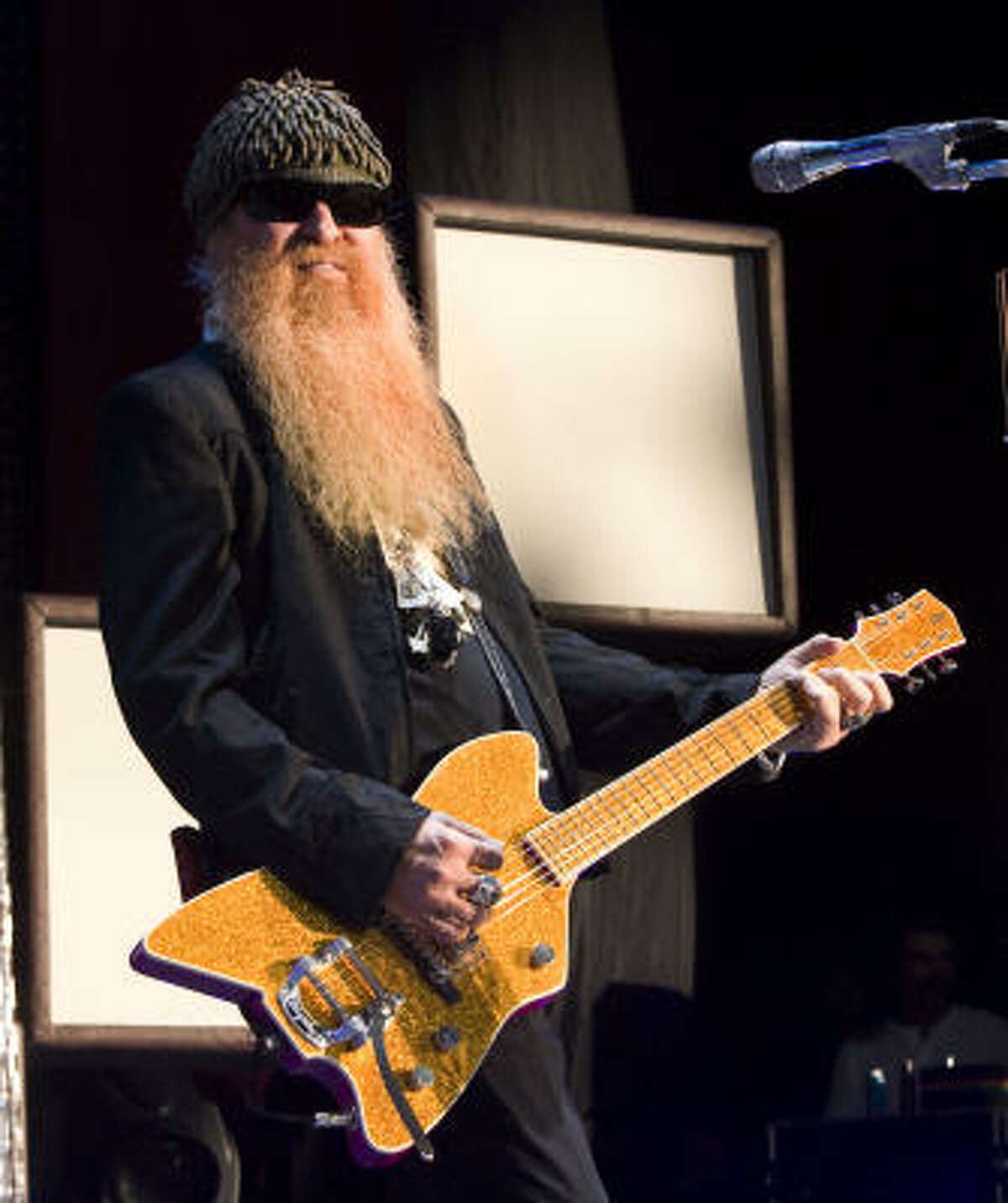 Billy F. Gibbons performs during the ZZ Top concert at the Cynthia Woods Mitchell Pavilion.
