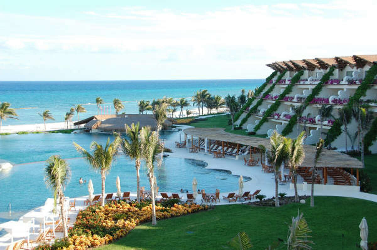 The Grand Velas All Suites and Spa Resort in Mexico's Riviera Maya has 491 rooms, seven restaurants and two pools. The family-friendly Ambassador Suites look out over the resort pool, perfectly matched to the color of the ocean.