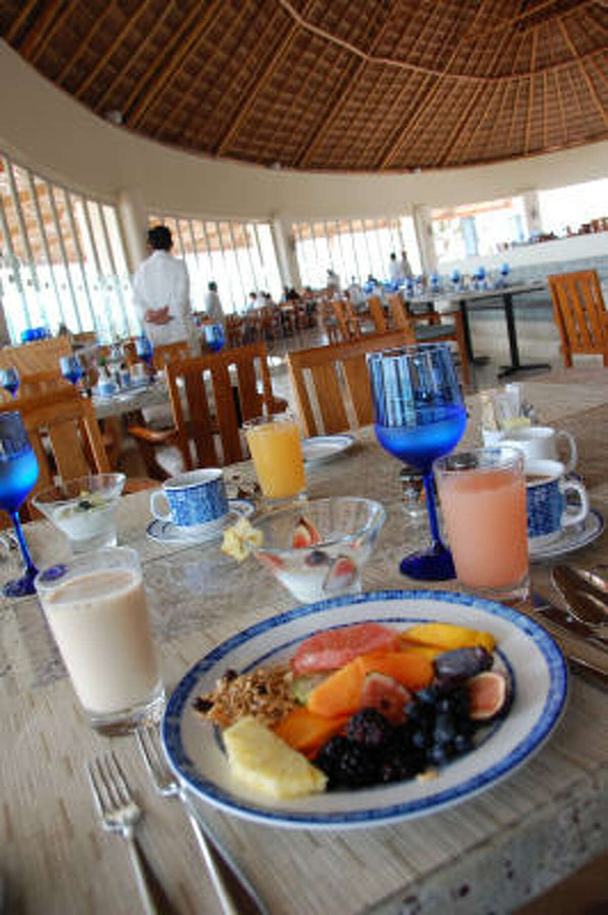 Tropical fruits abound at the breakfast buffet at Grand Velas' Azul restaurant.