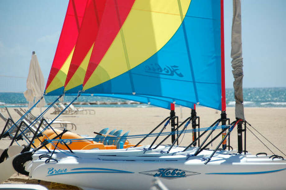 Hobie Cats and kayaks are free for guests to enjoy. Photo: Melissa Ward Aguilar, Houston Chronicle