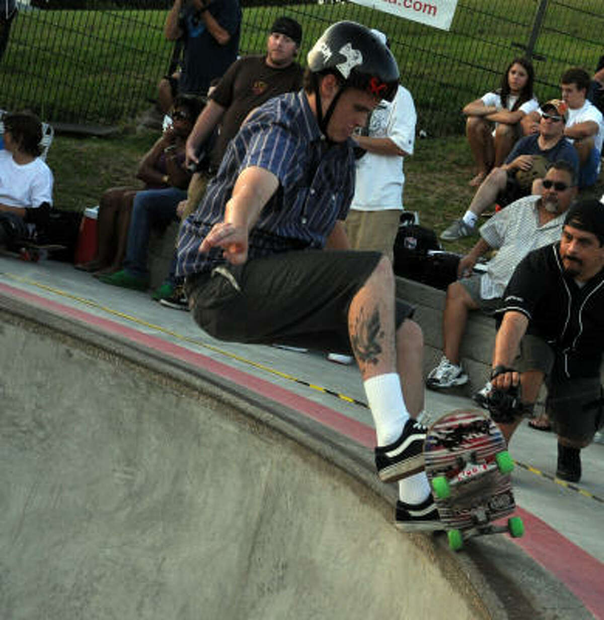 Connor O'Leary grinds on the lip of the kidney bowl.