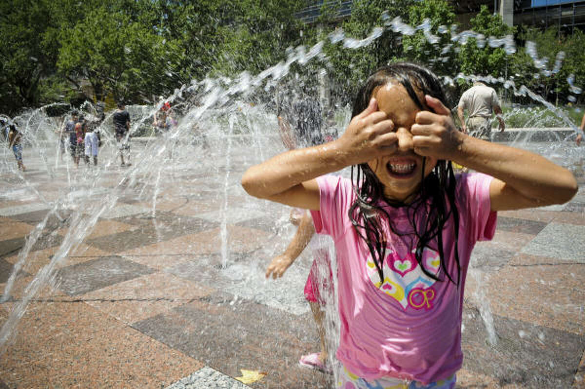 Discovery Green offers a free workout, Hip2BFit, for kids every Saturday from 11:30 to 12. Afterward cool off in the fountains.