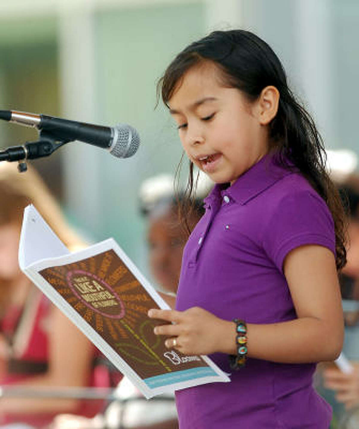 Have kids practice their writing, math and science skills. Writers in the Schools offers a free writers workshop to keep kids' literary skills sharp over the summer. The workshop is held Saturdays from 10:30 to 11:30 at HPL Express at Discovery Green. Here, Jakeline Borja, a third-grader reads her original work.