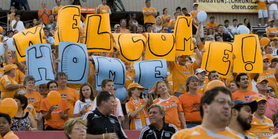 Fans welcome the Dynamo back after a long stretch away from Robertson Stadium. Photo: Bob Levey, For The Chronicle