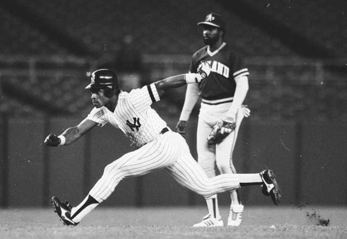 Rickey Henderson Teams: Oakland (1979-84, 89-93, 94-95, 1998); New York Yankees (1985-89); Toronto (1993), San Diego (1996-97, 2001); Anaheim (1997); New York Mets (1999-2000); Seattle (2000); Boston (2002); Los Angeles (2003). Henderson made his major league debut with Oakland in 1979 and led the club with 33 steals. In 1980 he became the first AL player to steal 100 or more bases in a single season with 100 to break Ty Cobb's record of 96 steals in 1915. He set the modern major league record for stolen bases with 130 to break Lou Brock's mark of 118 and also set record for most times caught stealing at 42. In 1990 he hit a career-best .325 and matched his career high with 28 homers, led the AL in runs (119), on-base percentage (.439) and steals (65), was second with a .577 slugging percentage to win MVP honors. In 2000 he joined Ted Williams as the only players to steal a base in four decades.