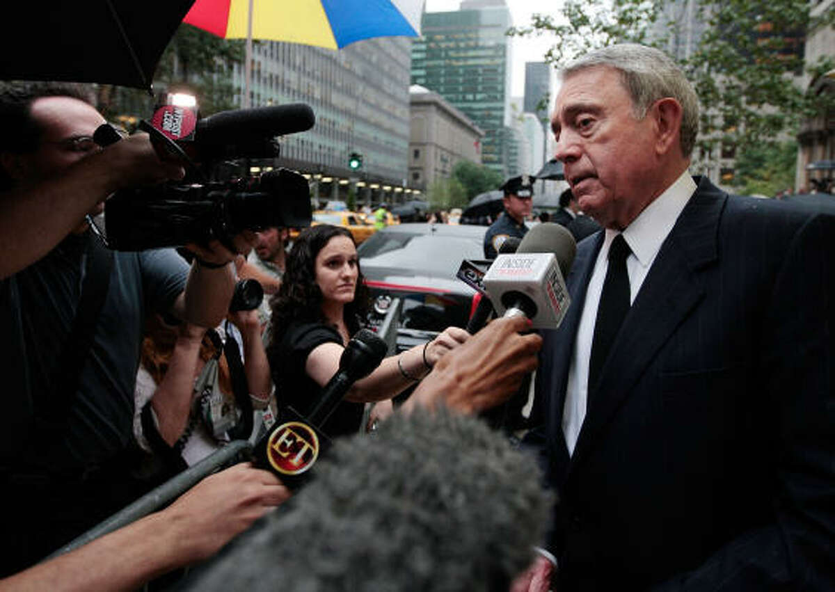 Cronkite's CBS Evening News successor and fellow Houstonian Dan Rather attended the service at St. Bartholomew's Church in Manhattan on July 23.
