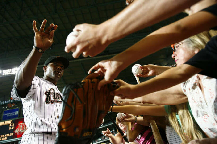 July 22: Astros 4, Cardinals 3Astros shortstop Miguel Tejada signs autographs for fans before the start of Wednesday's game against the St. Louis Cardinals at Minute Maid Park in Houston. More from Richard Justice on the Astros. Photo: Michael Paulsen, Chronicle
