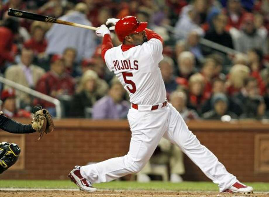 St. Louis first baseman Albert Pujols leads the National League in home runs (34 before the game on July 21) and RBIs (90) and was behind just Hanley Ramirez of Florida in the batting race at .333. Photo: Tom Gannam, AP