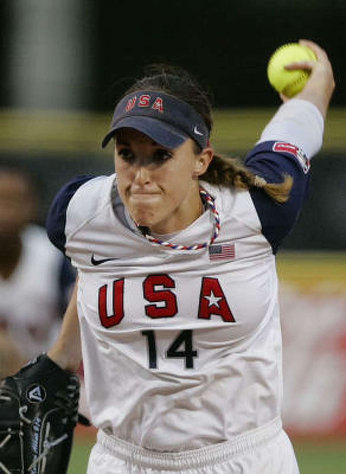 Monica Abbott winds up for a pitch against Australia in the first inning.