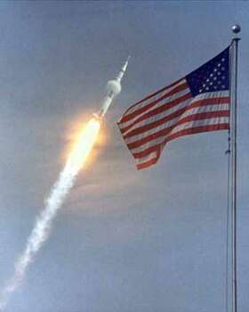 Apollo 11 launches into orbit. Apollo 11 video here. Photo: NASA