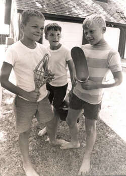 Astronaut Edwin Aldrin's son, Andrew, with some neighborhood friends. Left to right: Mark Frantz (10), Charley Merrifield (11) and Andrew. Apollo 11 video here. Photo: Tom Colburn, Houston Chronicle