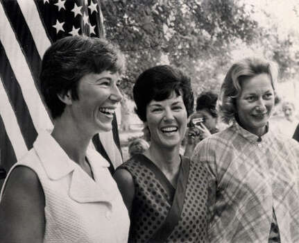 Wives of the three Apollo 11 astronauts make a joint apperance today today at one of their homes near the Space Center in Houston as their husbands continued the historical flight to the moon. From left: Mrs. Neil A. Armstrong, whose husband is scheduled to be the first man to step on the moon; Mrs. Michael Collins and Mrs. Edwin E. Aldrin Jr. Photo: AP
