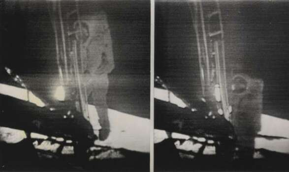 Apollo 11 Astronaut Neil Armstrong is shown making history as he climbs down the ladder from the lunar module (left photo) and a few seconds later becomes the first human to set foot on the moon (right photo). The photos were taken during a telecast back to earth of the history-making achievement. Photo: AP