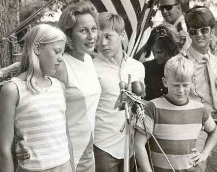 Mrs. Edwin E. Aldrin (Joan) admitted to being tense during parts of the Apollo 11 mission, but she said Thursday, the day her husband splashed down, was different. Mrs. Aldrin and her children, from left, Janice, Michael and Andrew, held a hot but happy post-splashdown press conference.