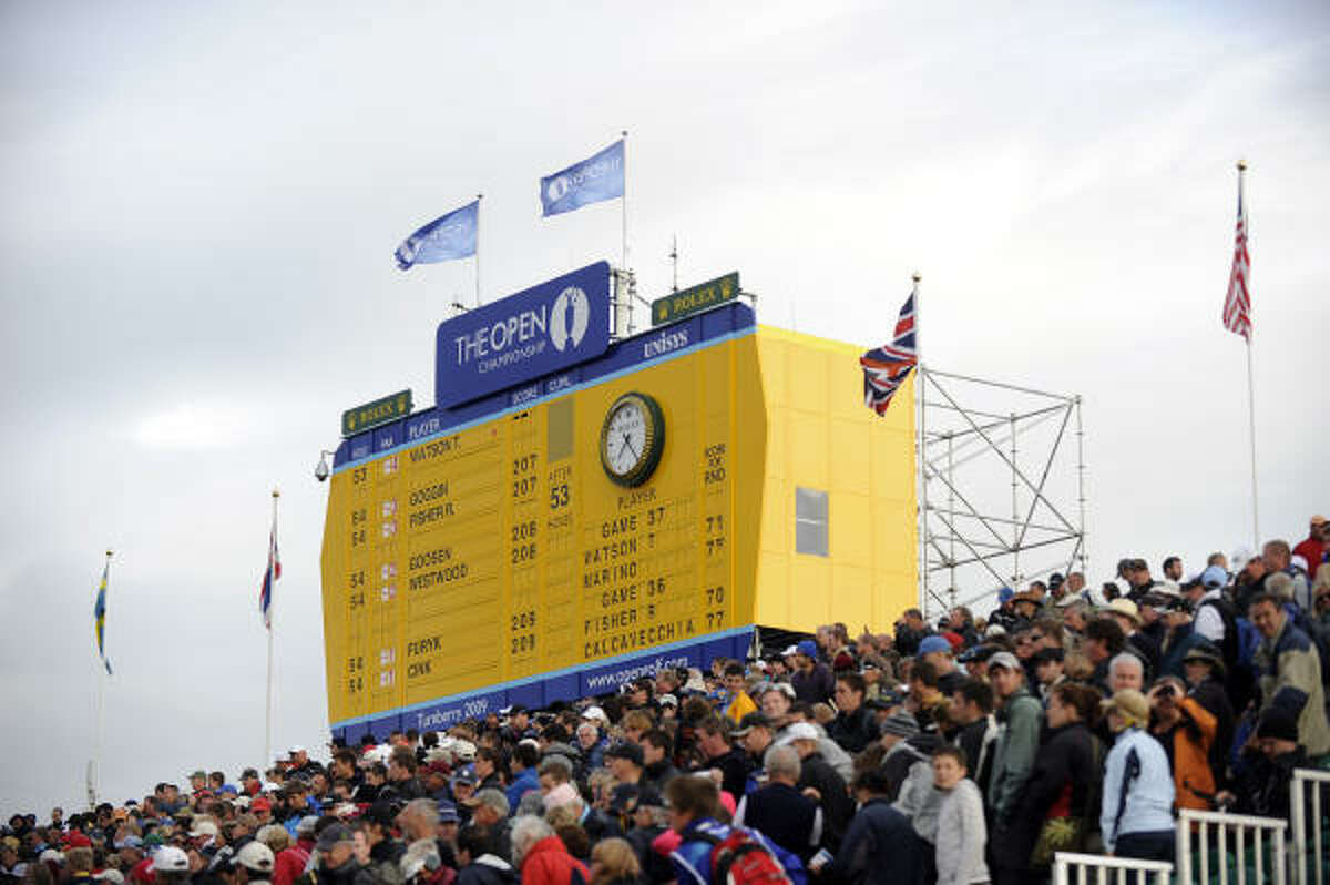 The final scoreboard is pictured on the third day of the 138th British Open.