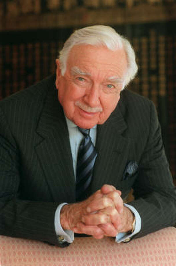 Walter Cronkite on his book tour through Houston, Jan. 15 1997. Photo: Betty Tichich, Houston Chronicle