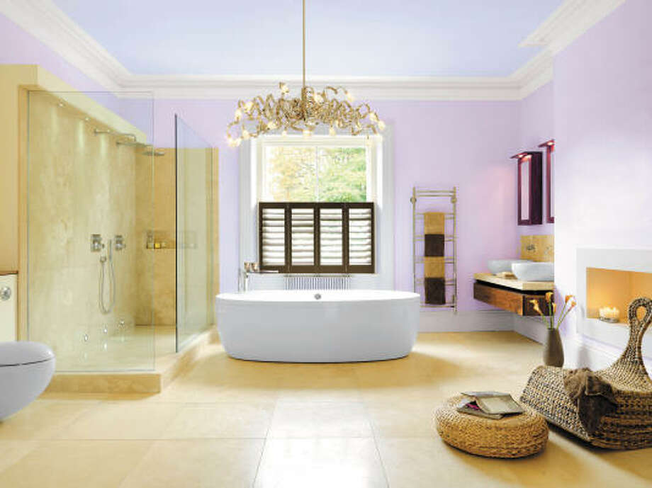 Layer your lighting. A chandelier is an unexpected but glamorous touch in the bathroom. Photo: Darren Chung © 2008, Benjamin Moore