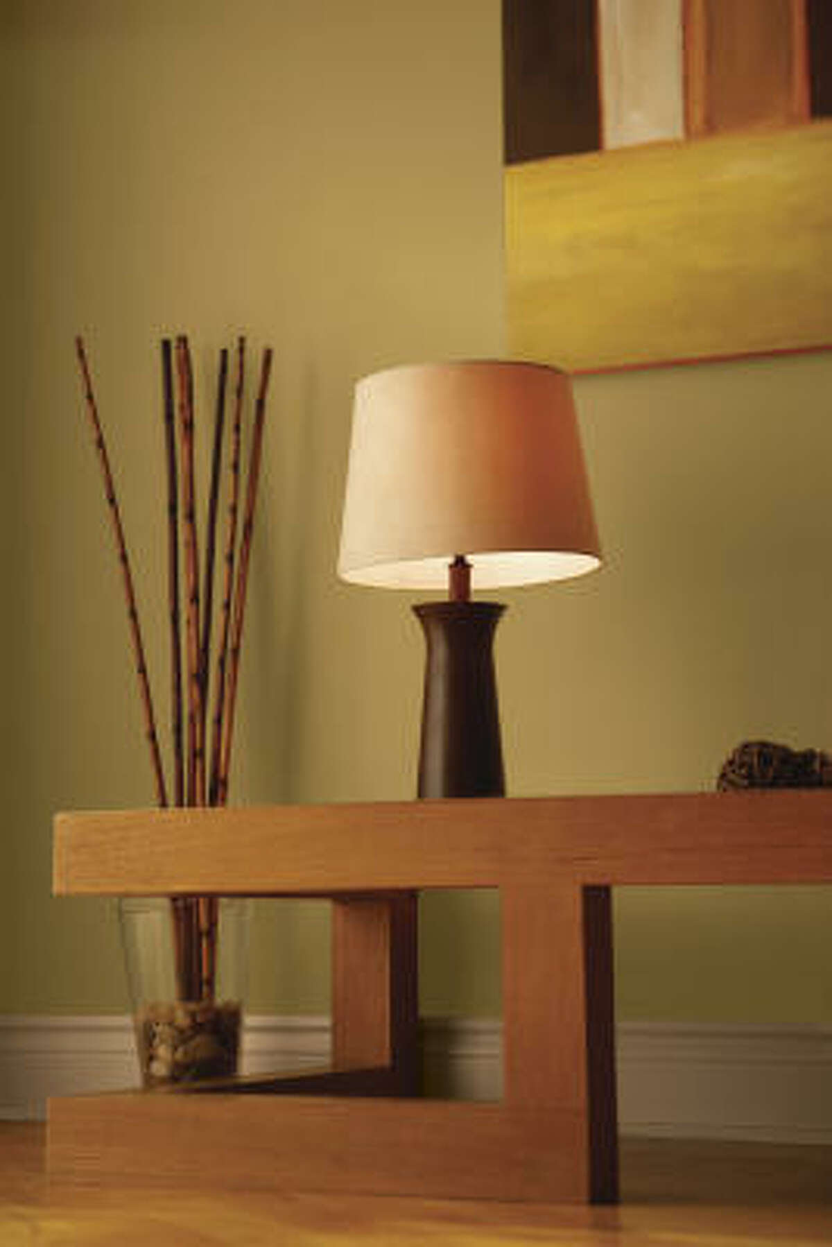 A table lamp is another way to layer lighting.