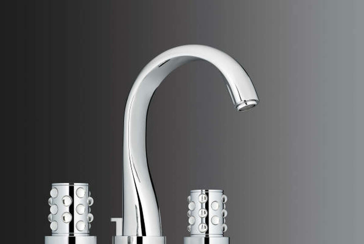 This Mossi faucet from THG has Lalique crystal sphere-studded handles that sparkle against a polished chrome or luxbrass finish. The collection is $10,740-$11,705. Hollywood Builders Hardware, 747 N. Shepherd, No. 200; 713-644-8301