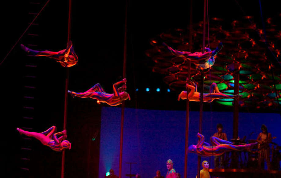 The House Troupe doing the Chinese Poles performance during Cirque Du Soleil 's Saltimbanco show at the Berry Center. Read the review here. Photo: Billy Smith II, Houston Chronicle