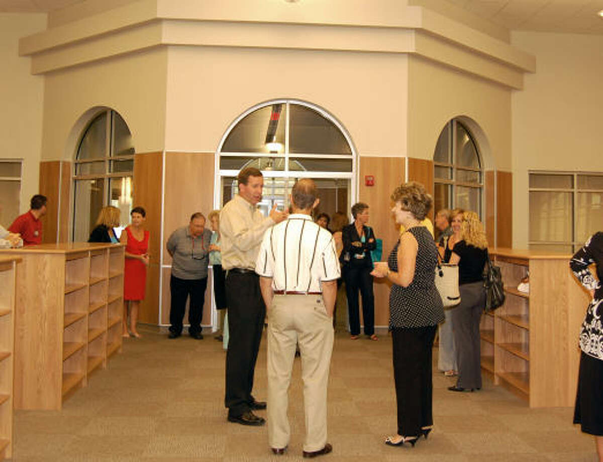 The school's library is located front and center, with classrooms on either side.
