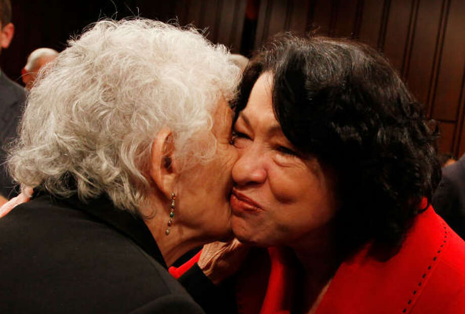 On the second day of her hearing, Judge Sonia Sotomayor greets her mother, Celina. Photo: Mark Wilson, Getty Images
