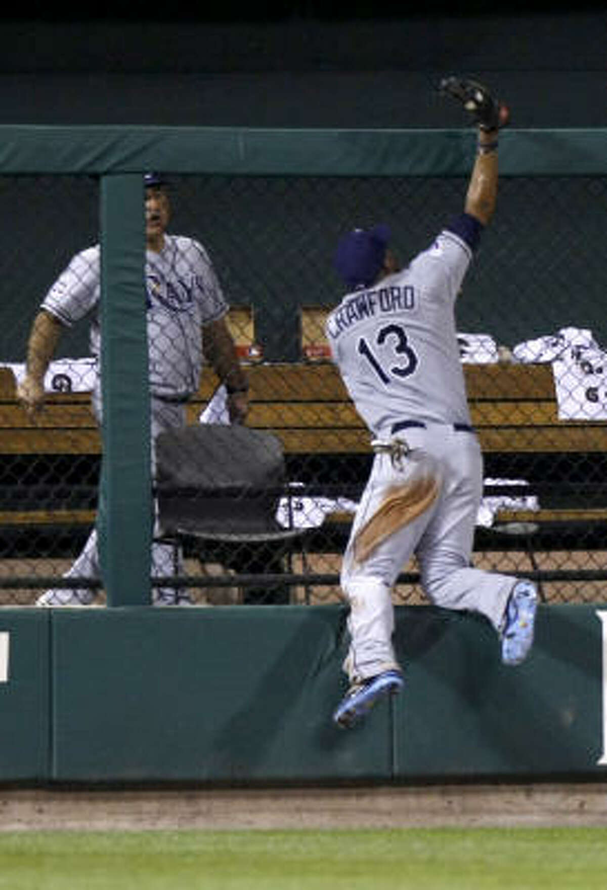 Here's another view of the catch. In his third All-Star appearance, Carl Crawford was elected by his fellow players as a reserve. He came off the bench as a pinch hitter in the fifth and singled his first time up before finishing 1-for-3.