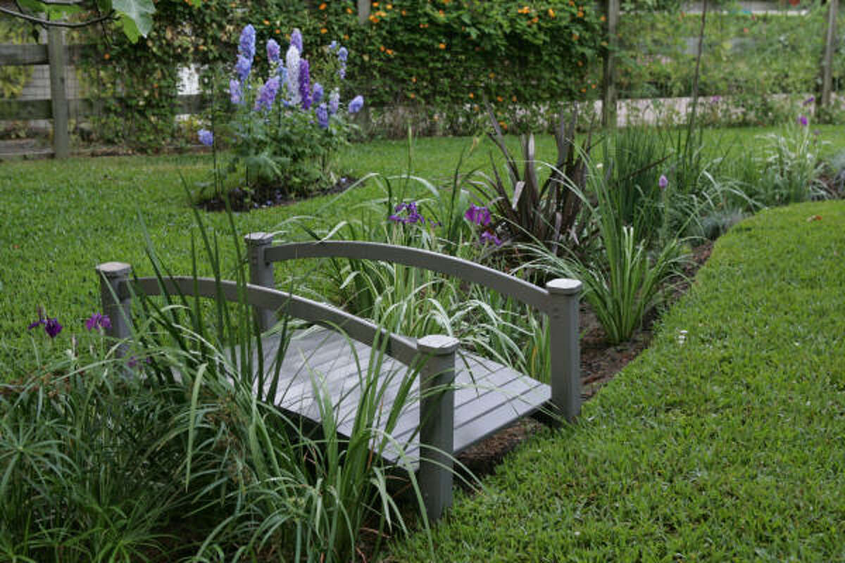 In spring, irises bloom along this rock-lined swale, which captures and diverts rainwater all year long in Houston. More: Set up your backyard pond | Top 10 water garden mistakes | Water features create sense of tranquility | Houston Plant Database | HoustonGrows.com