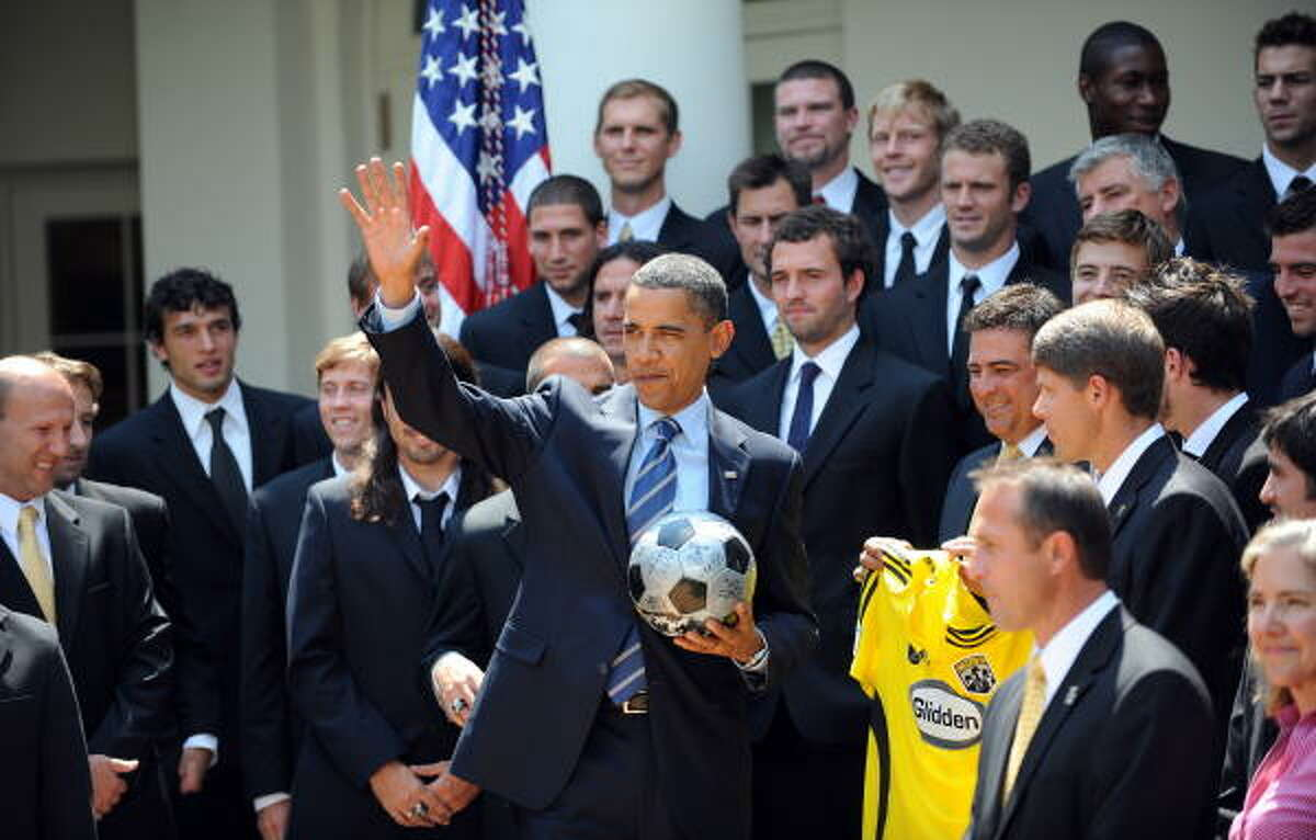 President Barack Obama meets with players from the Columbus Crew on Monday. The Crew won the MLS Cup last year, defeating the New York Red Bulls, 3-1.