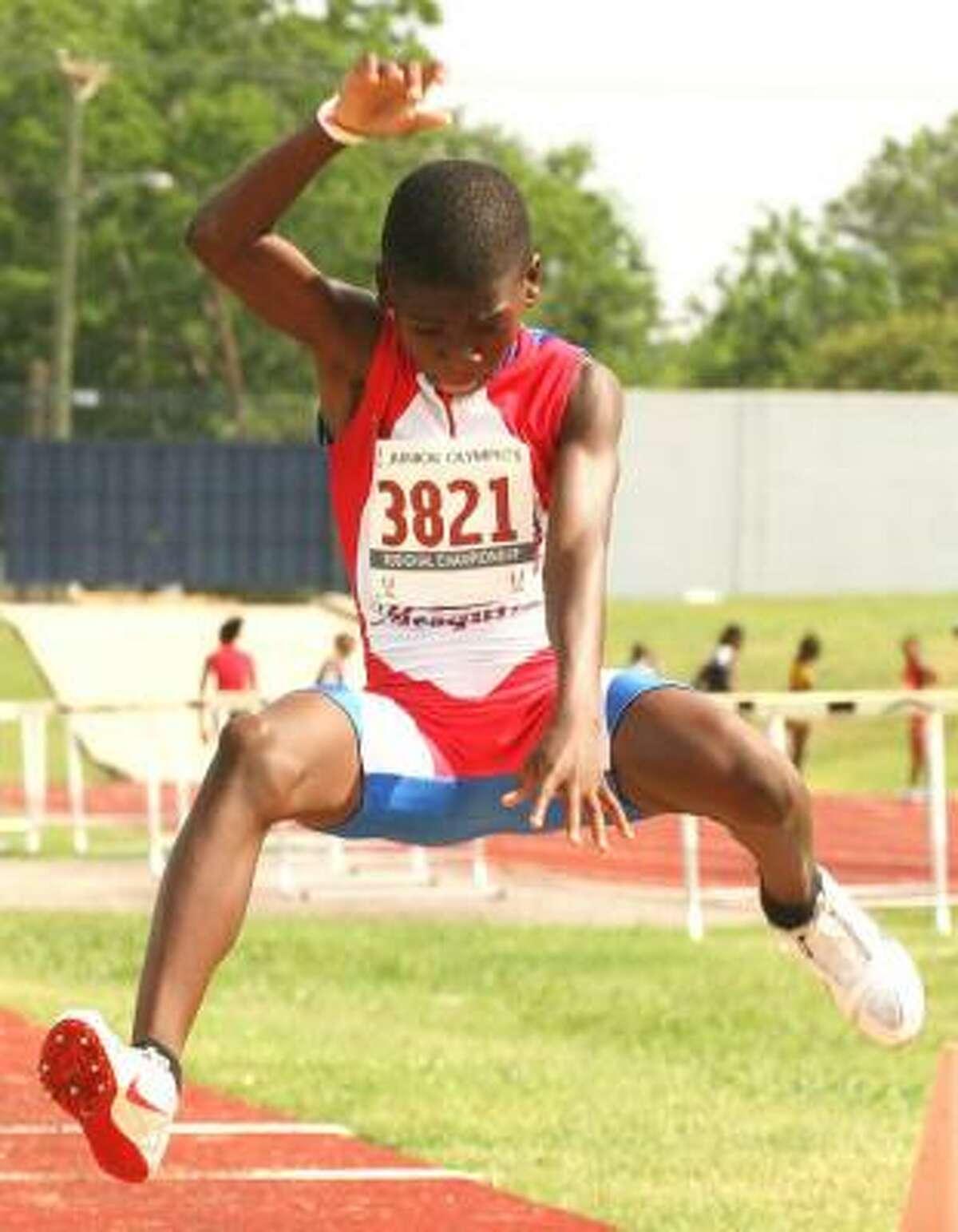 Korbin Skinner of Elite of Mesquite in the long jump.