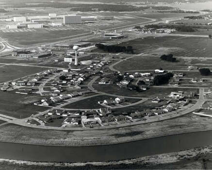 Nassau Bay was another residential area popular with employees of the Manned Space Center, shown in the upper left corner of the photo.  The neighborhood in this photo from 1964 lacks the dense canopy of trees that now shade neighborhood streets. Photo: Chronicle