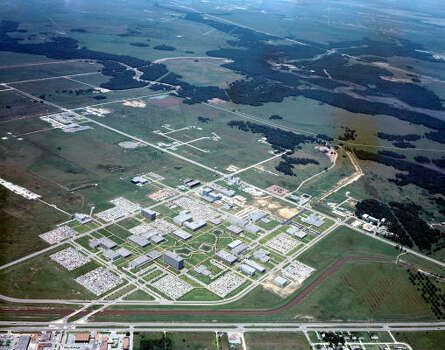 Trees and fields dominate much of the landscape around the Manned Space Center in this 1968 photo. Photo: NASA