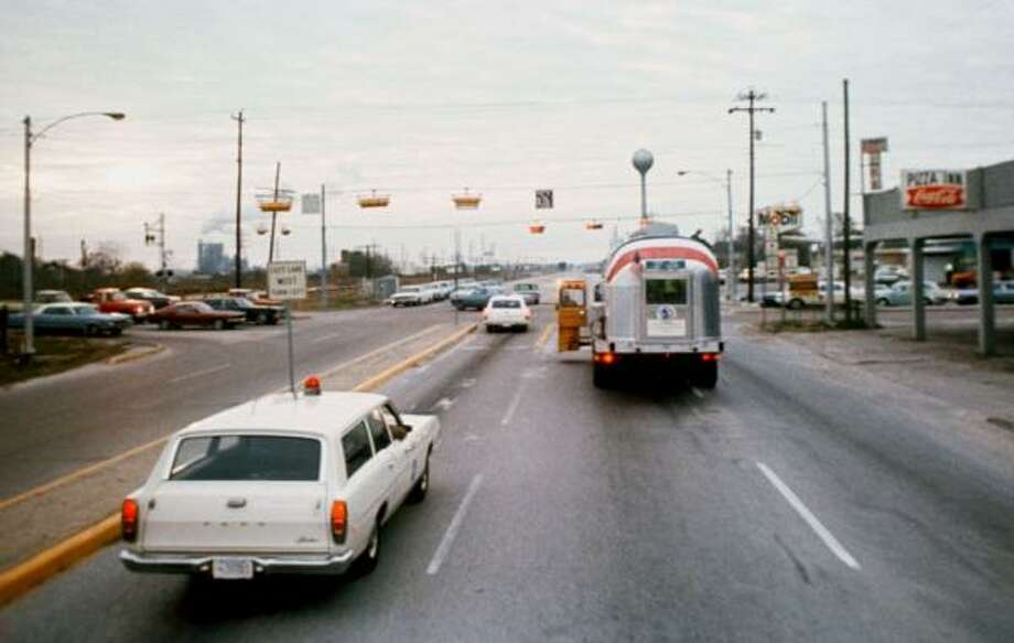 PHOTOS: Clear Lake before and during NASA's heydayCarrying astronauts from Ellington Air Force Base to Johnson Space Center in 1969, NASA's Mobile Quarantine Facility prepares to turn left off of Highway 3 on to NASA Road 1. The quarantined Apollo 12 astronauts had just arrived at Ellington from Hawaii following splashdown.>>>See more vintage photos of Clear Lake during the Apollo era... Photo: NASA