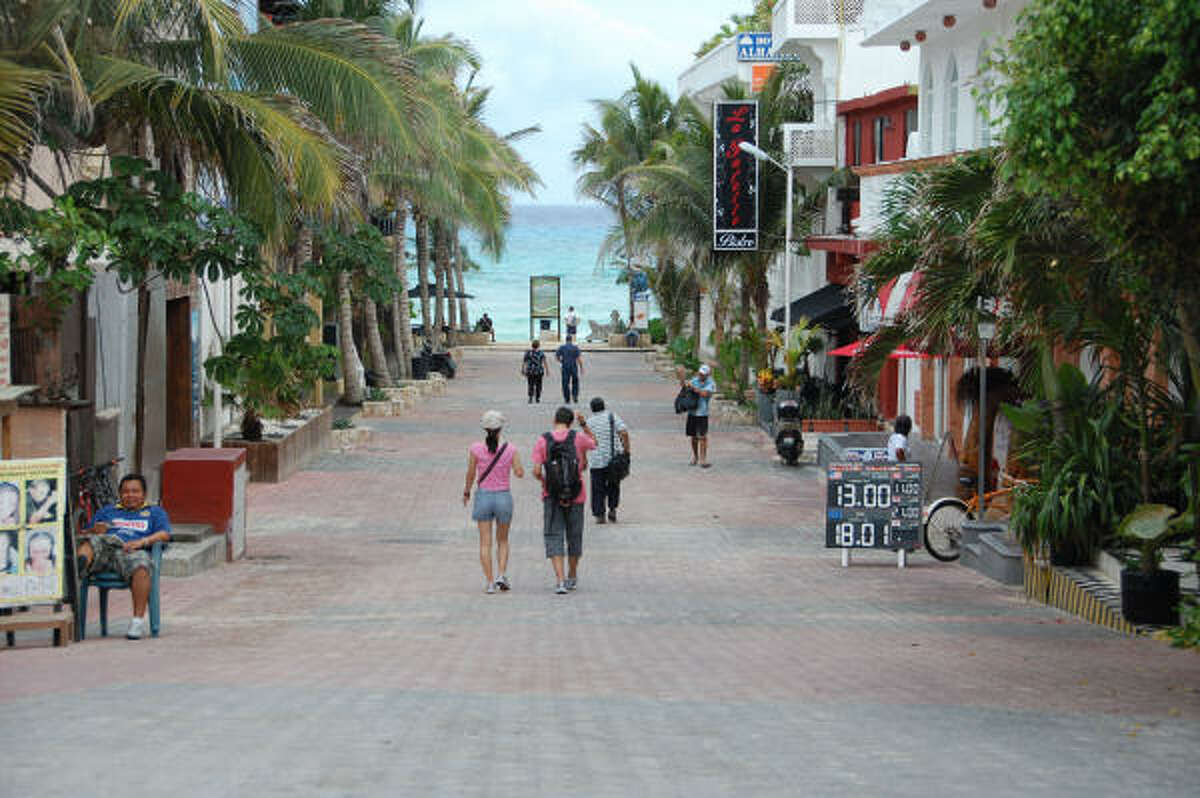The view of the Caribbean down Calle 12 from Quinta Avenida in Playa del Carmen.