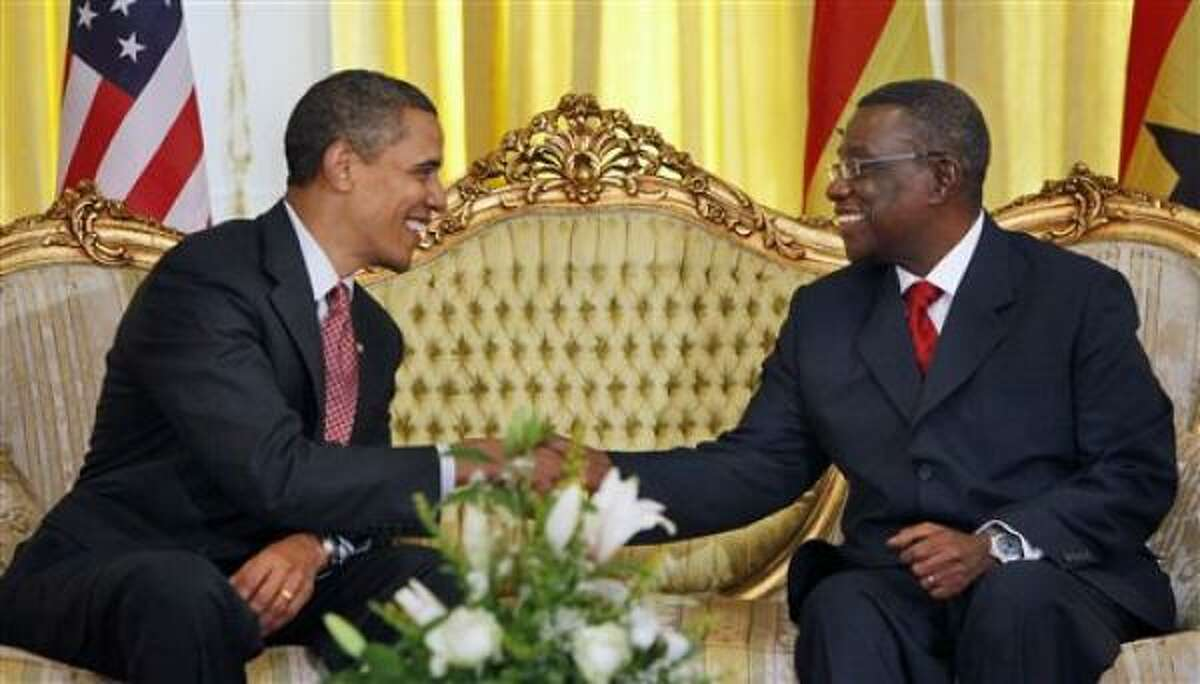President Barack Obama meets with Ghana President John Atta Mills at the Presidential Palace in Accra, Ghana, July 11.
