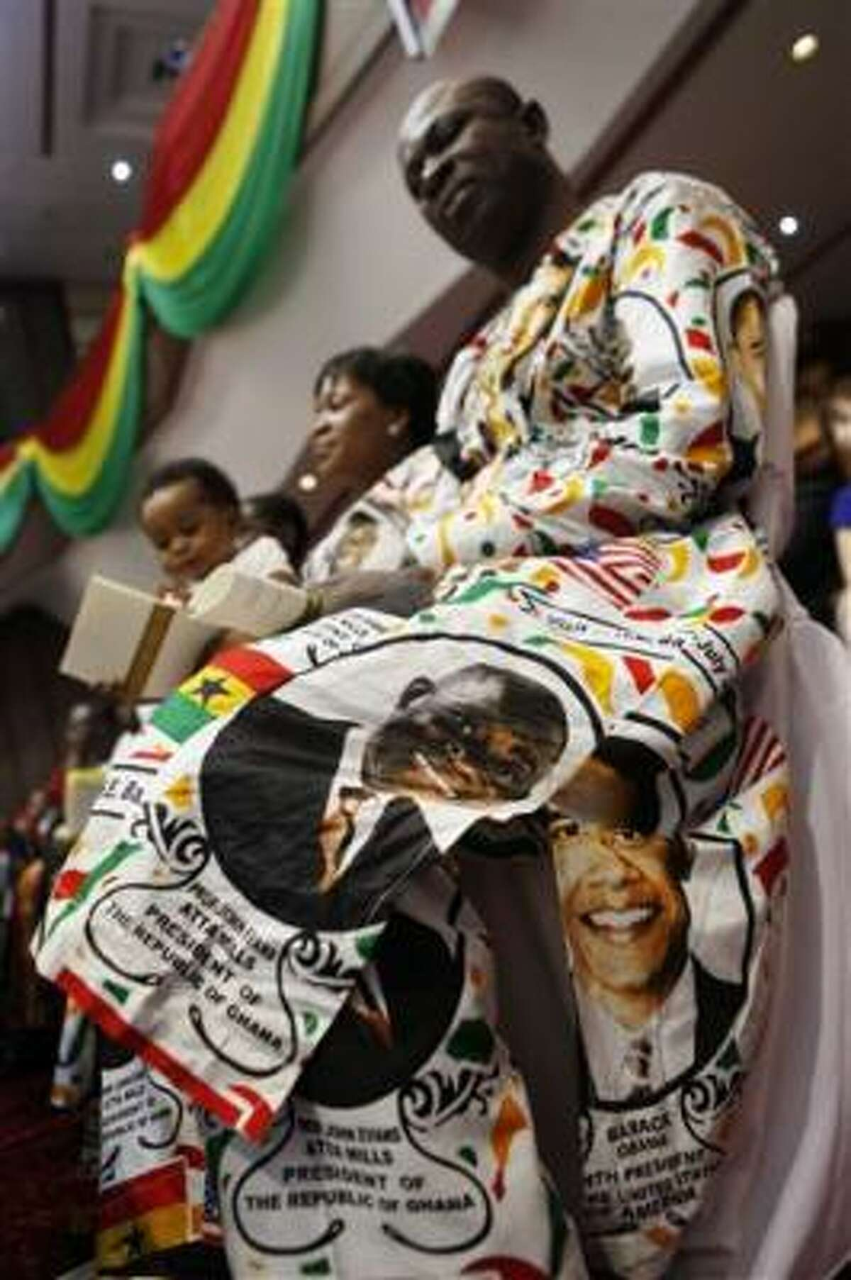 The president's image adorns clothing.