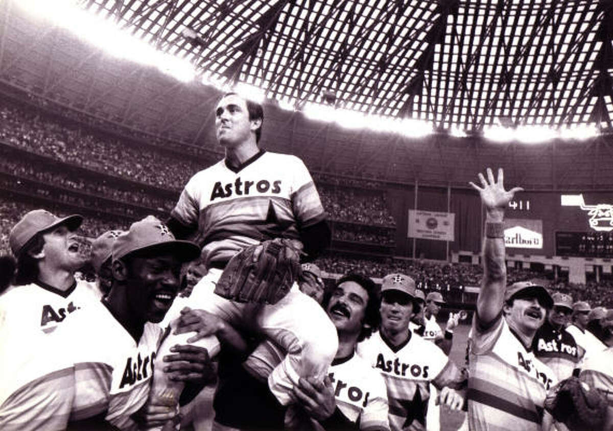 Long time Houston photographer Tim Johnson photographed the celebration after Houston Astros Nolan Ryan recorded his 4,000 strike out July 11, 1985 in the Houston Astrodome. Tim Johnson died July 7, 2009.