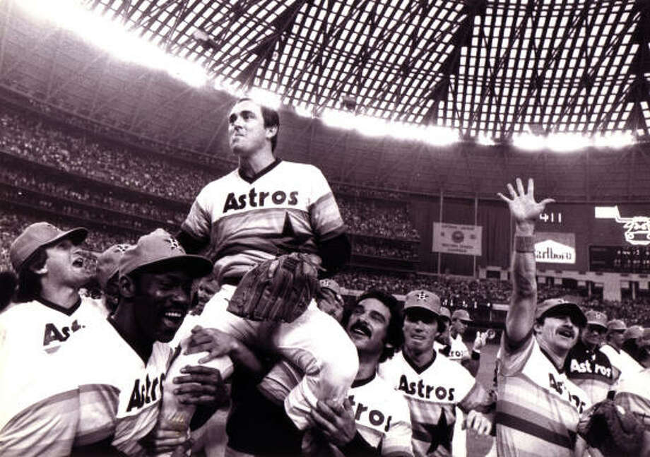Long time Houston photographer Tim Johnson photographed the celebration after Houston Astros Nolan Ryan recorded his  4,000 strike out July 11, 1985 in the Houston Astrodome. Tim Johnson died July 7, 2009. Photo: Tim Johnson