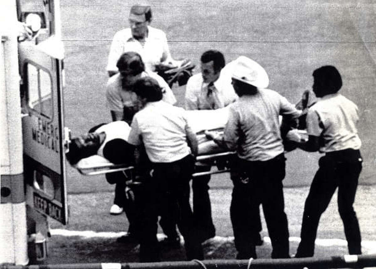 1980 UPI PHOTO FROM CHRONICLE FILES HSP (DS) 073002-7/30/1980-HOUSTON, TX: Houston Astros pitcher J.R. Richard is lifted into an ambulance after collapsing 7/30 following a short workout in the Astrodome to test his troubled pitching arm. Richard, placed on the disabled list July 16th, was rushed back to Methodist Hospital where he was released five days ago after extensive tests for his mysterious arm ailment. Exclusive UPI photo by Tim Johnson / fcs Photographer Tim Johnson was the only photographer to capture the incident. A long time Houston photograper, Tim Johnson died July 7, 2009.