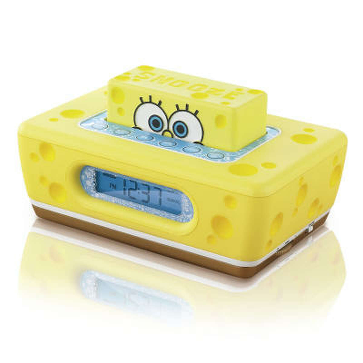 Hit the snooze button when the Clock-It Alarm Clock goes off, unleashing seaworthy sounds from seagulls to foghorns, and SpongeBob's baby blues slide back into the sponge-like clock body.