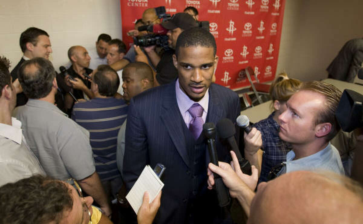 Ariza talks to the media after being introduced as the newest Rockets player.