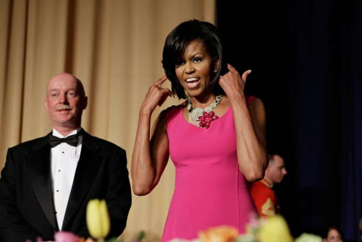 First lady Michelle Obama is never one to shy away from bold colors. Here she is at the annual White House Correspondents' Association dinner.